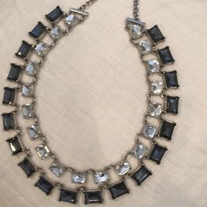 Double chain jewel statement necklace